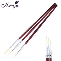 Wholesale Wholesale Wood Pen Kits - 3 Size Nail Art Red Wood Line Slim Painting Brushes Set Gel Polish Tips 3D Flower Lines Image Drawing Building Pigment Pen Kit
