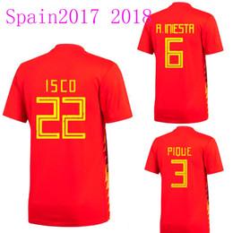 Wholesale National Green - Thailand quality national team 2017-2018 Spain home soccer jersey A INIESTA RAMOS 17-18 ISCO PIQUE football jerseys camisas de futebol