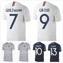 Wholesale wholesale white uniform shirts - 2018 world cup Mbappe home blue Soccer Jersey #7 GRIEZMANN Mbappe away white Soccer Shirt # 6 POGBA #10 MBAPPE #13 KANTE football Uniform