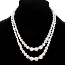 Top quality Chic Dupla camada de pérolas falsas colares de noiva damas de honra frisado cadeias de colar para as mulheres moda presente da jóia do casamento de