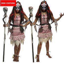 2019 costumi indiani femminili Nuovo Costume di Halloween Carnaval Pasqua Adult Female Indian African Tribe Voodoo Witch Priest Costume Cosplay di alta qualità costumi indiani femminili economici
