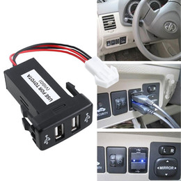 Wholesale Dashboard For Toyota Car - DHL 50PCS Auto Car 2.1A Dual USB Port Charger Dashboard Mount For Phone Audio Input for Toyota VIGO Hot Selling