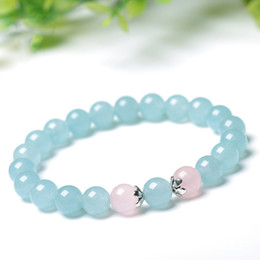simple round crystal lighting Coupons - Light Blue Crystal Bracelets Pink 10mm Round Beads Lucky for Women Girlfriends Sister chalcedony Crystal Simple Bracelet Jewelry