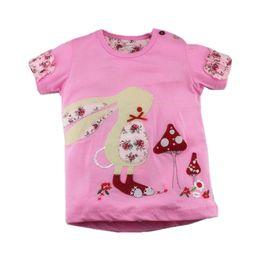 rosa zeichen Rabatt Neue Sommer Marke Childrentshirt Schöne Rosa Patch Charakter Kaninchen O-Neck Kurze Qualität Baumwolle Mädchen Casual T-shirt