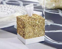 goldstrumpfhalter Rabatt Sparky Gold Pailletten Pralinenschachtel für Hochzeit Gastgeschenke Geschenke