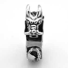 Stainless Steel 2 Color Spiral Fire Dragon Chinese Zodiac Sign Biker Ring