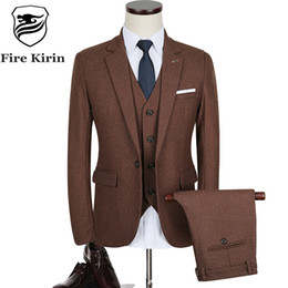 Wholesale Tuxedo Wine - Fire Kirin 3 Piece Suit Men 2017 Autumn Slim Fit Mens Wedding Suit Dark Grey Wine Red Blue Tuxedo Jacket Business Suits Q335