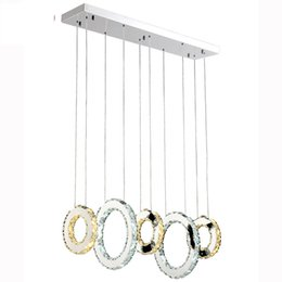 Wholesale crystal restaurants - Luxury Contemporary LED Crystal Pendant Lights K9 Crystal Chandeliers Lighting With 3 5 Crystal Circulars For Living Room Restaurant
