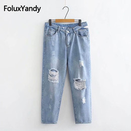 5ebaebc46fc Hollow Out Jeans Denim Pencil Pants Women Casual Plus Size XXXL 4XL Loose  Hole Ripped Jeans Trousers Sky Blue KKFY2757
