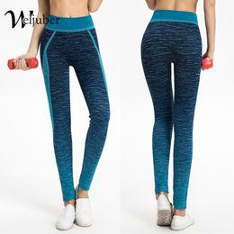 Wholesale black denim jeggings - Weljuber Women Fitness Yoga Pants 2018 Autumn Workout Pants Woman Leggings Ladies High Elastic Denim Skinny Jeggings Trousers
