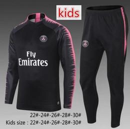 Wholesale child jogging suit - Kids Paris soccer tracksuit 2018-2019 soccer jogging jacket MBAPPE VERRATTI CAVANI DI MARIA child Football Training suit