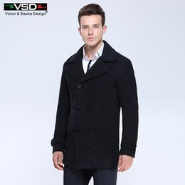Wholesale Woolen Suits For Men - VSD Wool Blends Suit Design Wool Coat Male Quality Casual Trench Slim Fit Double Breasted Office Suit Jacket Coat for Men's 3018
