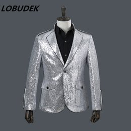 Wholesale Men S Fashion Outfits - Male new silvery white sequins jacket blazer fashion tide coat outfit singer nightclub bar costumes host performance stage wears