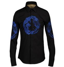 Camisas de los hombres de moda chino Royal dragon phoenix bordado camisas de vestir hombre Casual algodón de lujo Noble diseñador camisas sociales desde fabricantes