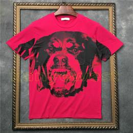 2019 camisetas para perros 2018 nueva llegada verano hombres Rose rojo perro estampado camiseta de manga corta Diseñador camiseta Camisetas camisetas unsex tee algodón tops camisetas para perros baratos