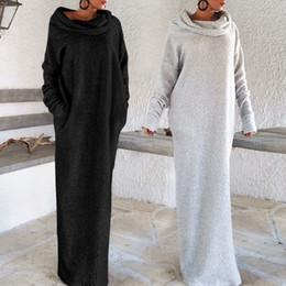 Wholesale Fleece Turtleneck - Heaps Collar Pocket Long Dress Puff Sleeve Irregular Fleece Off Shoulder Women Turtleneck Casual Loose Robe OOA4160