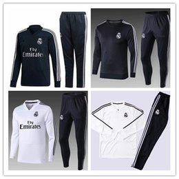 Wholesale thai quality - TOP THAI QUALITY new 2018-19 Real Madrid men's soccer chandal white football tracksuit 18 19 adult training suit skinny pants Sportswear