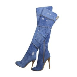 Wholesale Wedge Sexy Brown High Boots - Denim Blue Jeans Thigh High Boots Peep Toes Sexy Lace Decor Increasing Patchwork Stretch Rumway Women Booties