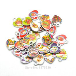 Wholesale Religious Pictures - Fashion Carton Religious Charm Mixed Pictures Two Side Same Photo Heart Shape