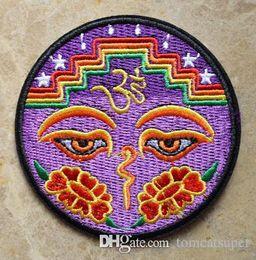 Hochwertige augenflecken online-SCHLUSSVERKAUF! ~ Augen von Buddha Frieden Trance Boho Hippie Yoga Lotus Eisen auf Patches, annähen Patch, Applikationen, Tuch, 100% Qualität