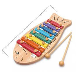 Wholesale Girls Piano - Raw Wood Color Lovely Wooden Knocker Music Instrument Muyu Baby Knock On The Piano Guoqin Octave Noisemaker Toys 20yh W