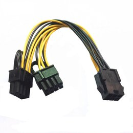 Double câble d'alimentation mâle en Ligne-GPU 6 broches / 8 broches 8 broches femelle à double PCI-E PCI 8 broches (6 + 2 broches) Câble de câble d'alimentation mâle Pour carte graphique BTC Miner longueur 20 cm