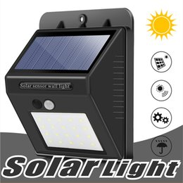 Wholesale Motion Sensor Night Lights - 20 LED Solar Sensor Wall light Motion Sensor Powered Wall light Out Door Home Garden Wall lights Night Security Lamp Gutter with Box Package