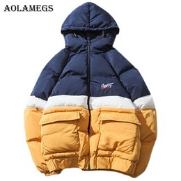 Wholesale Japanese Fashion Winter Coat - Aolamegs Winter Jacket Men Japanese Patchwork Thick Mens Parkas Down Jacket Loose Couple Fashion Casual Windproof Coat Mens New