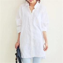 camicia bianca della signora Sconti Camicia Donna Camicetta 2018 Primavera Estate Donna Camicette Office Lady OL Elegante Coppe larghe Large White Casual Linen