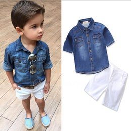 Wholesale Boys Denim Shirts - ins Boys Childrens Clothing Sets Denim Shirts White Shorts 2Pcs Set Fashion Boy Kids Short Sleeve Tops Boutique Clothes Enfant Outfits