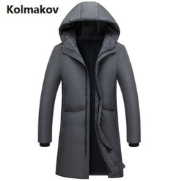 Wholesale Cuff Ribbing - KOLMAKOV 2017 new winter high quality men's hooded Windproof cuffs down jacket,70% white duck down solid color coats parkas men.
