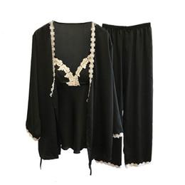 2019 chalecos de seda Ropa para el hogar femenina Pijamas Conjuntos de encaje sexy femenino en todas las estaciones Pijamas de seda Conjunto Abrigo + Chaleco + Pantalones rebajas chalecos de seda