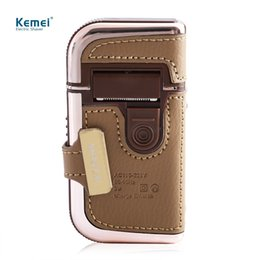 Wholesale rechargeable mustache trimmer - 2 in 1 Kemei Men's Electric Shavers Razors Vintage Leather Wrapped Rechargeable Mustache Beard Trimmer Shaving Machine