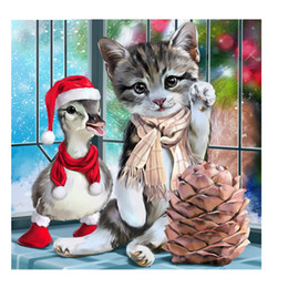 pintura del diamante la navidad Rebajas Kits completos 3d Pintura Diamante Completa Cuadrada Gato de Dibujos Animados Serie de Navidad 5D Diy Diamante Bordado Decoración Del Hogar Regalo de los niños