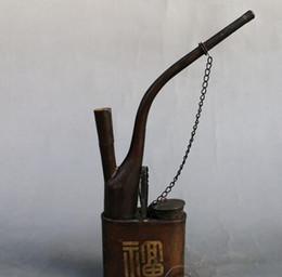 2019 pipas de fumar antiguas La cañería de tubo de humo de tabaco de tubo de agua de cobre agitando antiguos ornamentos de artesanía antigua alta 23cm rebajas pipas de fumar antiguas