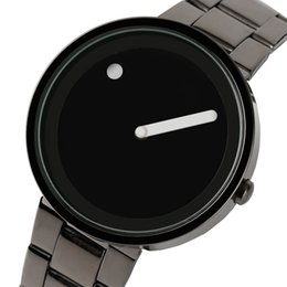 Wholesale Modern Battery - 2018 New Arrival Full Steel Watch Men Unique Dot and Line Design Casual Fashion Quartz Wristwatch Modern Creative Round Dial Male Hour Clock