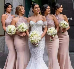 Wholesale halter neckline green prom dresses - 2018 New Blush Mermaid Bridesmaid Dresses with Halter Neckline Sleeveless Floor Length Beadeds Appliques Trumpet Pink Prom Party Gown 602
