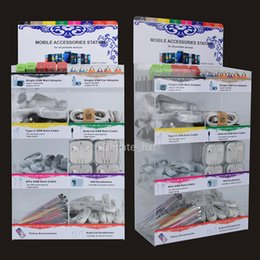 Wholesale Car Charger Usb Box - 8 in 1 mobile phone portable accessories acrylic display box use for iphone samsung smartphones with usb charger & cable aux cable earphones