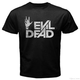 Camisa muerta online-Evil Dead Ash Horror Zombie Walking Rob T-Shirt Negro Nuevo Cuello redondo de manga corta Nuevo 2017 Algodón Camiseta de manga corta