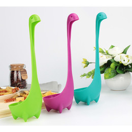 Wholesale long handled plastic spoons - Loch Ness monster Spoon Cartoon Spoon Dinosaur Soup Spoon Plastic Long Handle Multi-color Kitchen Accessories Tableware Spoons