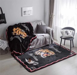 Wholesale Wholesale Print Fleece - Tide Brand Tiger Head Printing Blankets Coral Fleece Throw On Sofa Bed Plane Carpet Air Conditioning Nap Rug Blanket