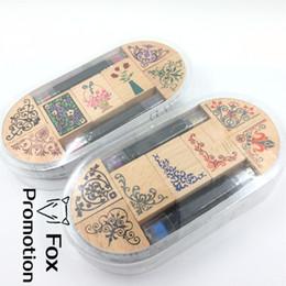 Tinta de sello de goma online-7 unid / set con 2 plumas de tinta surtidos de flores de época floral patrón de sello de goma de madera del libro de recuerdos diy floral decoración de encaje sello