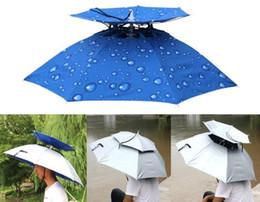 Al aire libre plegable de dos pisos a prueba de viento anti-ultravioleta  sombrilla Sunny Rainy Raining camping ciclismo pesca Senderismo sombrero  paraguas 8c073c84a9a