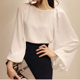 Wholesale White Sheer Button Blouse - Plain White Shirt Blusa Chiffon Ladies Office Shirt Puffed Lantern Sleeve Long Sleeve Blouse Blusas Formal Ladies Crop Top
