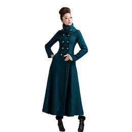 2018 Automne Hiver Nouvelles femmes armée vert veste manteau femmes vintage stand col double boutonnage mince long manteau de laine L1107 ? partir de fabricateur