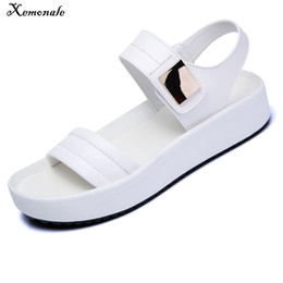 eed1198bf57e Xemonale 2018 Summer PU Leather Strap Women Flat Heel Platform White Wedge  Slides Sandals
