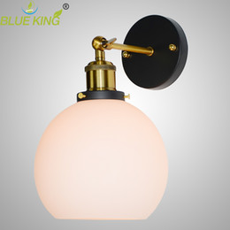 Wholesale Globe Industrial - 5.9'' Retro industrial glass wall lamp sconce E27 Loft Home Decor globe white Christmas Lights Vintage Wall Lamp