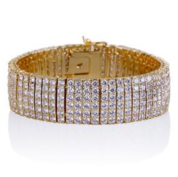 bracelet en diamant couleur Promotion Hip Hop Hommes Bracelet, Auniquestyle Or / Argent Couleur Glacé Micro Pave Cubique Zircon 6Row Tennis Chaîne Bracelets CZ Diamond Bangle Bijoux