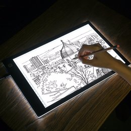 Wholesale Exercise Books - LED lighted Drawing Board Ultra A4 Drawing table Tablet light Pad Sketch Book Blank Canvas for Painting Acrylic Watercolor Paint