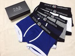 Wholesale boxers blue - 2018 Fashion Men Underwear Briefs Cotton 5 Color Breathable Letter Underpants Shorts Luxury Brand Design Cuecas Tight Waistband.
